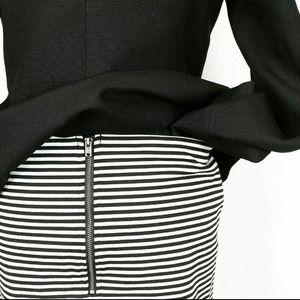 Black And White Striped Exposed Zipper Mini Skirt